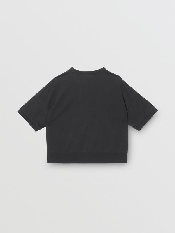 Horseferry Print Cotton T-shirt in Black | Burberry - cell image 3