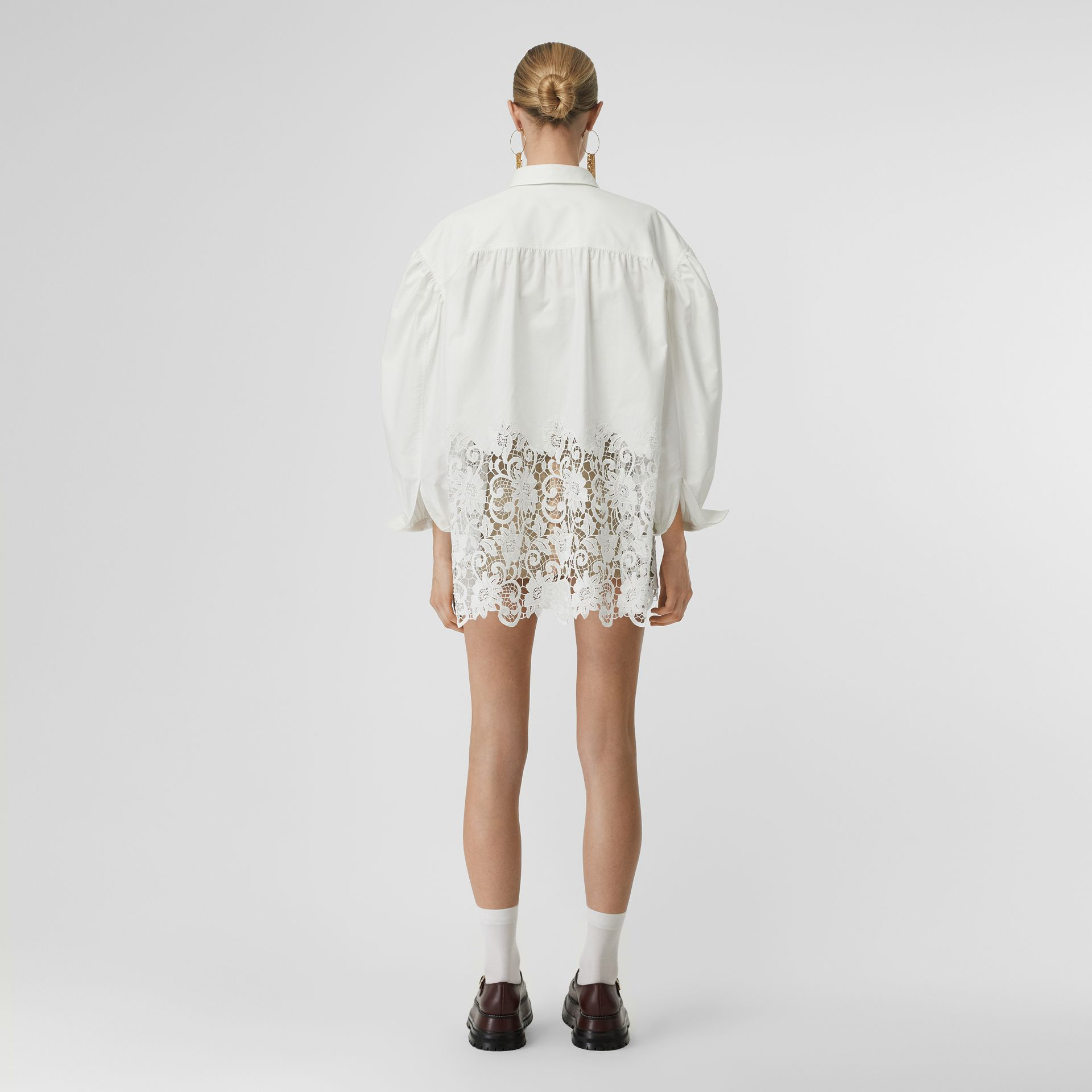 Macramé Lace Panel Cotton Oxford Oversized Shirt in White | Burberry - gallery image 2