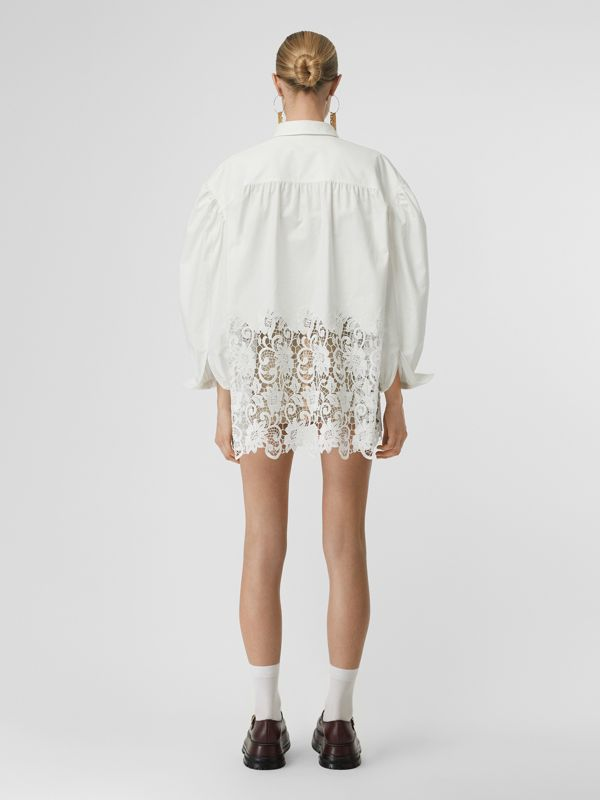 Macramé Lace Panel Cotton Oxford Oversized Shirt in White | Burberry - cell image 2