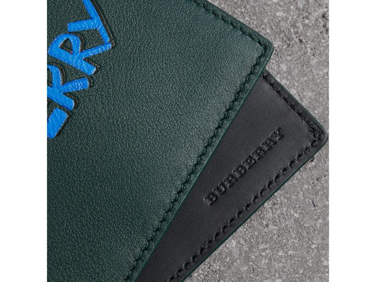 Graffiti Print Leather International Bifold Wallet in Deep Bottle Green - Men | Burberry - cell image 1