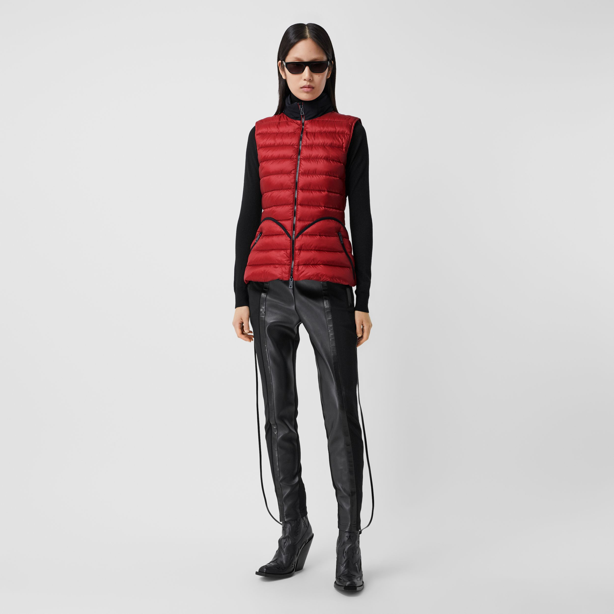 Packaway Hood Peplum Puffer Gilet in Dark Carmine - Women | Burberry - 1