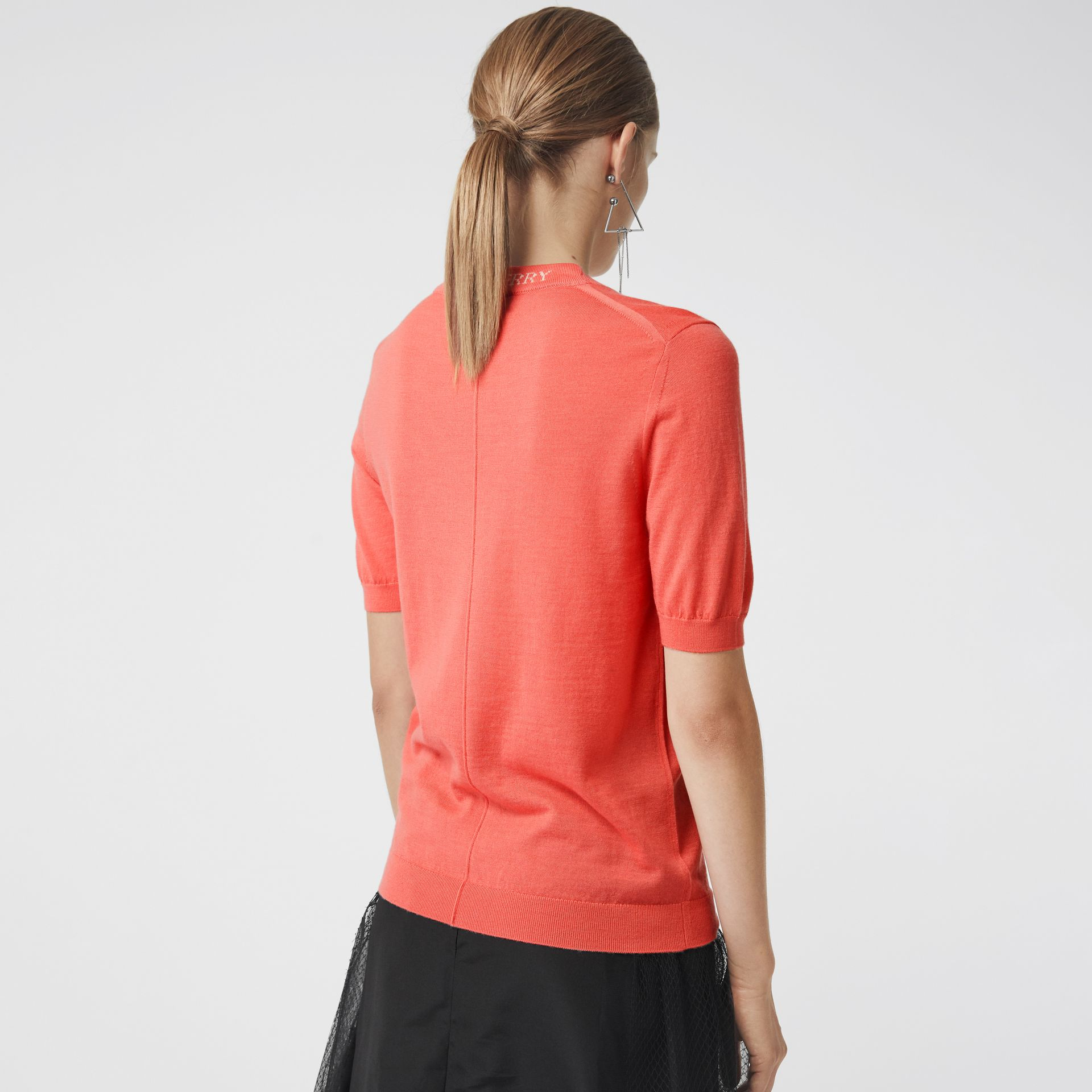 Crew Neck Merino Wool Sweater in Coral - Women | Burberry - gallery image 2