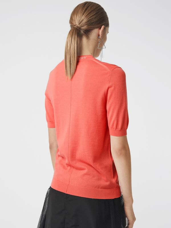 Crew Neck Merino Wool Sweater in Coral - Women | Burberry - cell image 2