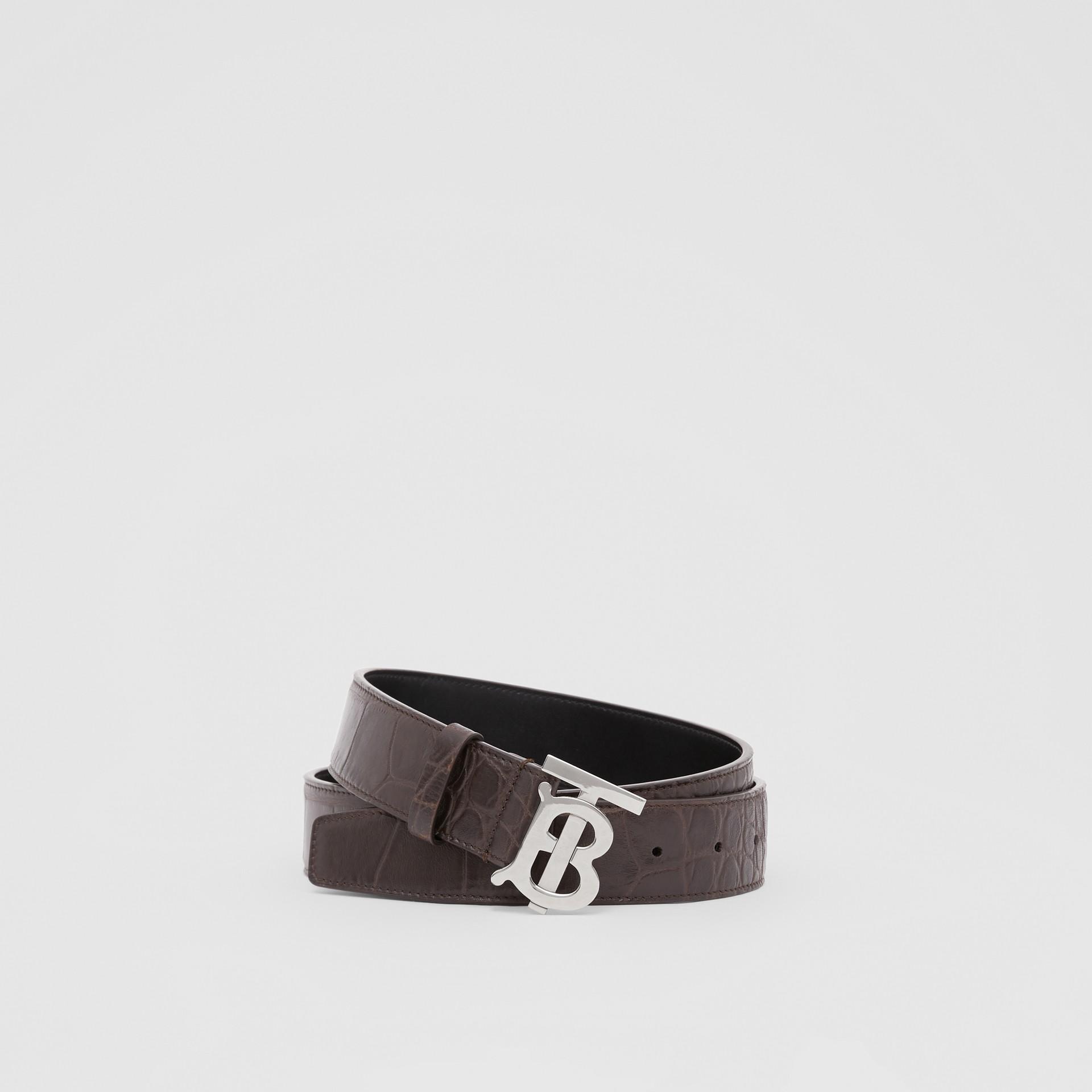 Monogram Motif Embossed Leather Belt in Brown - Men | Burberry - gallery image 0