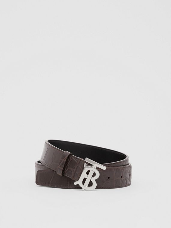 Monogram Motif Embossed Leather Belt in Brown