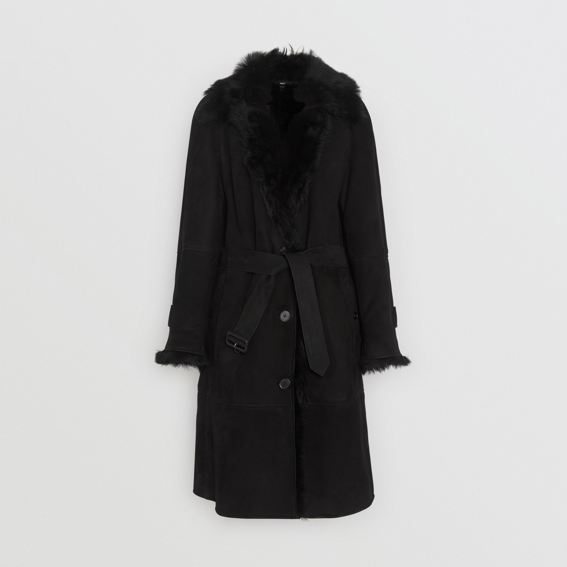 Shearling Car Coat in Black - Women | Burberry - gallery image 3