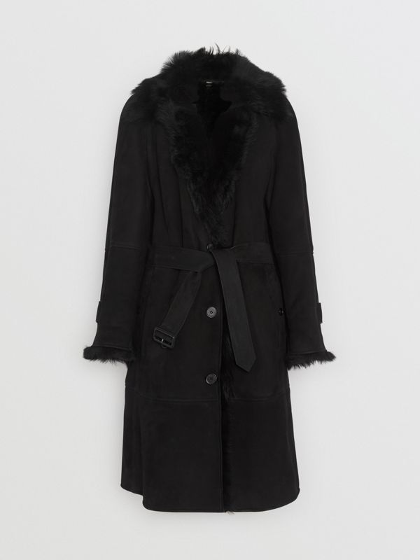 Shearling Car Coat in Black - Women | Burberry - cell image 3