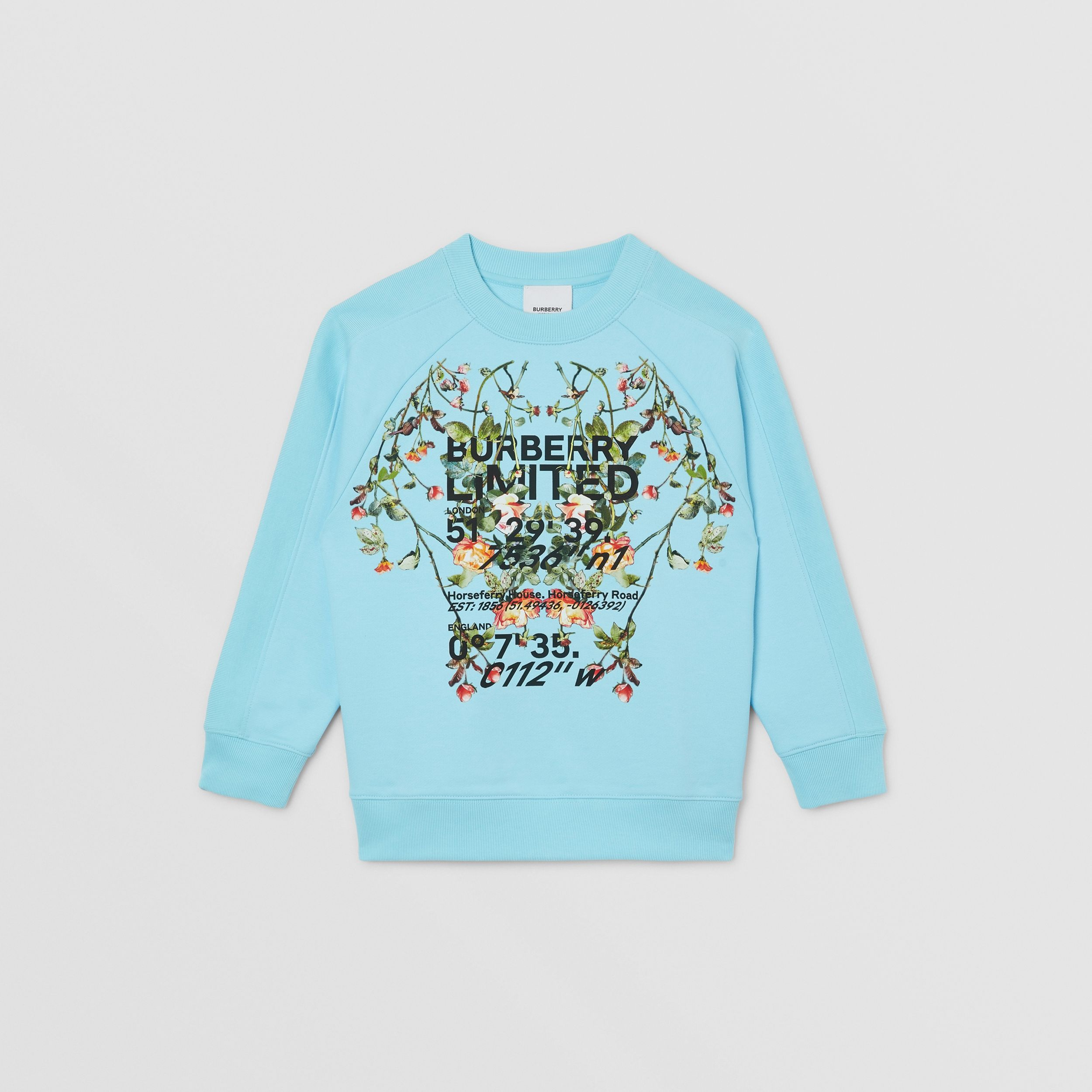 Montage Print Cotton Sweatshirt in Pale Turquoise | Burberry - 1