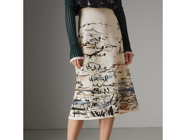 Coastal Print Cotton Linen A-line Skirt in Natural White - Women | Burberry United Kingdom - cell image 4