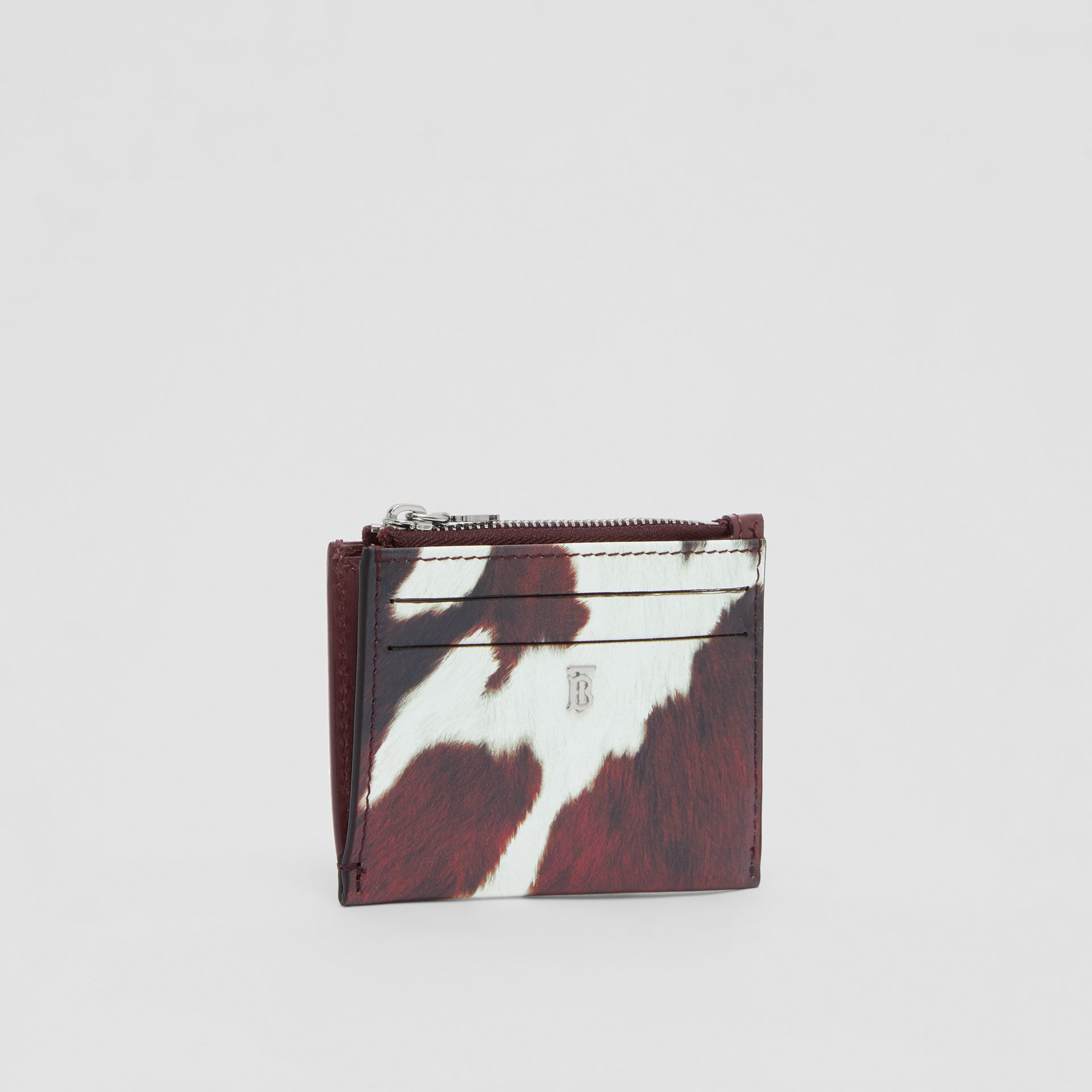 Cow Print Leather Zip Card Case in Mahogany - Women | Burberry Australia - gallery image 4