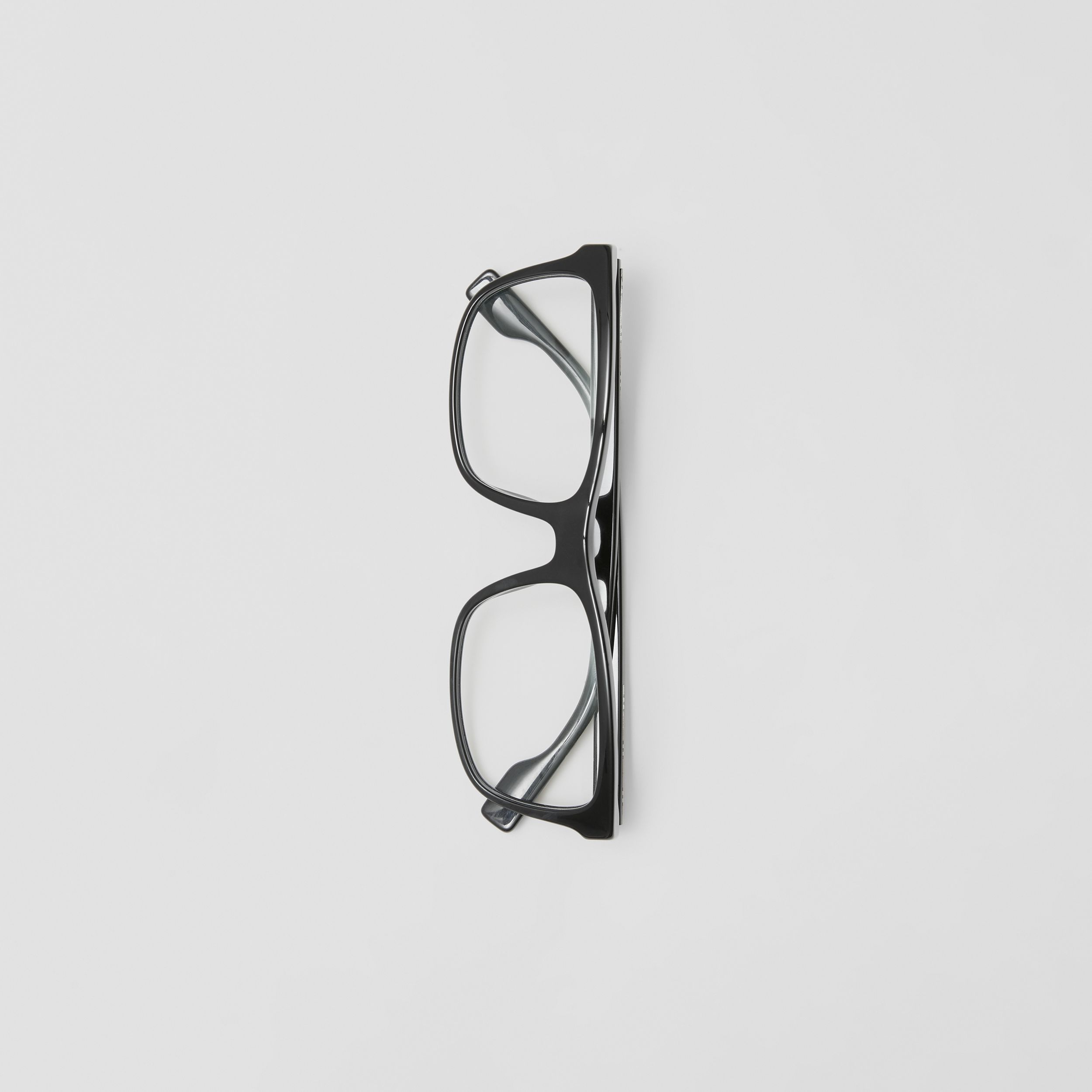 Icon Stripe Detail Rectangular Optical Frames in Black - Men | Burberry - 4