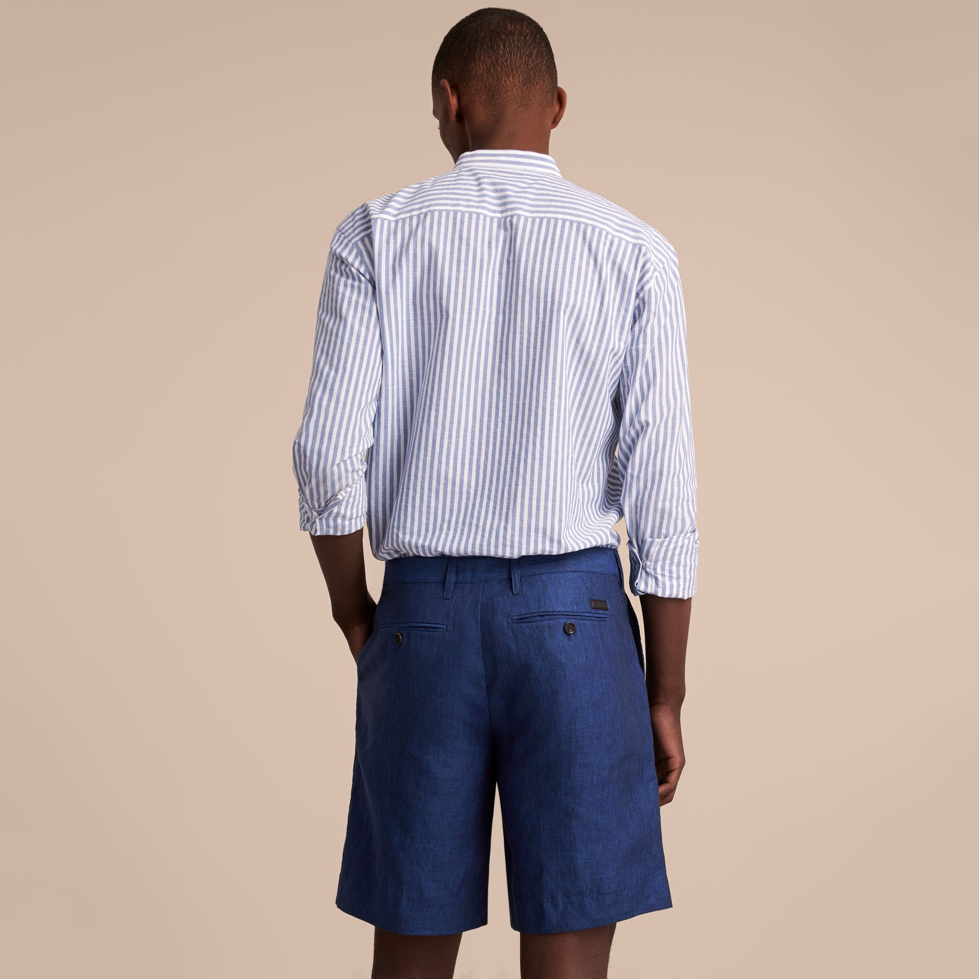 Lightweight Linen Shorts in Steel Blue - Men | Burberry - gallery image 3