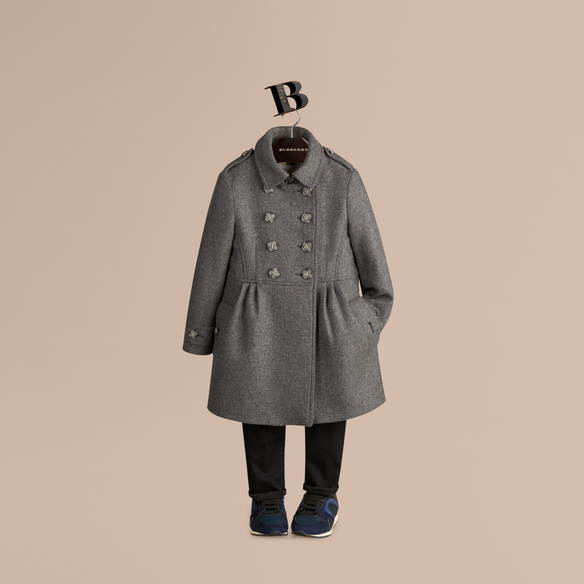 Mid grey melange Virgin Wool Cashmere Blend Military Coat Mid Grey Melange - gallery image 1