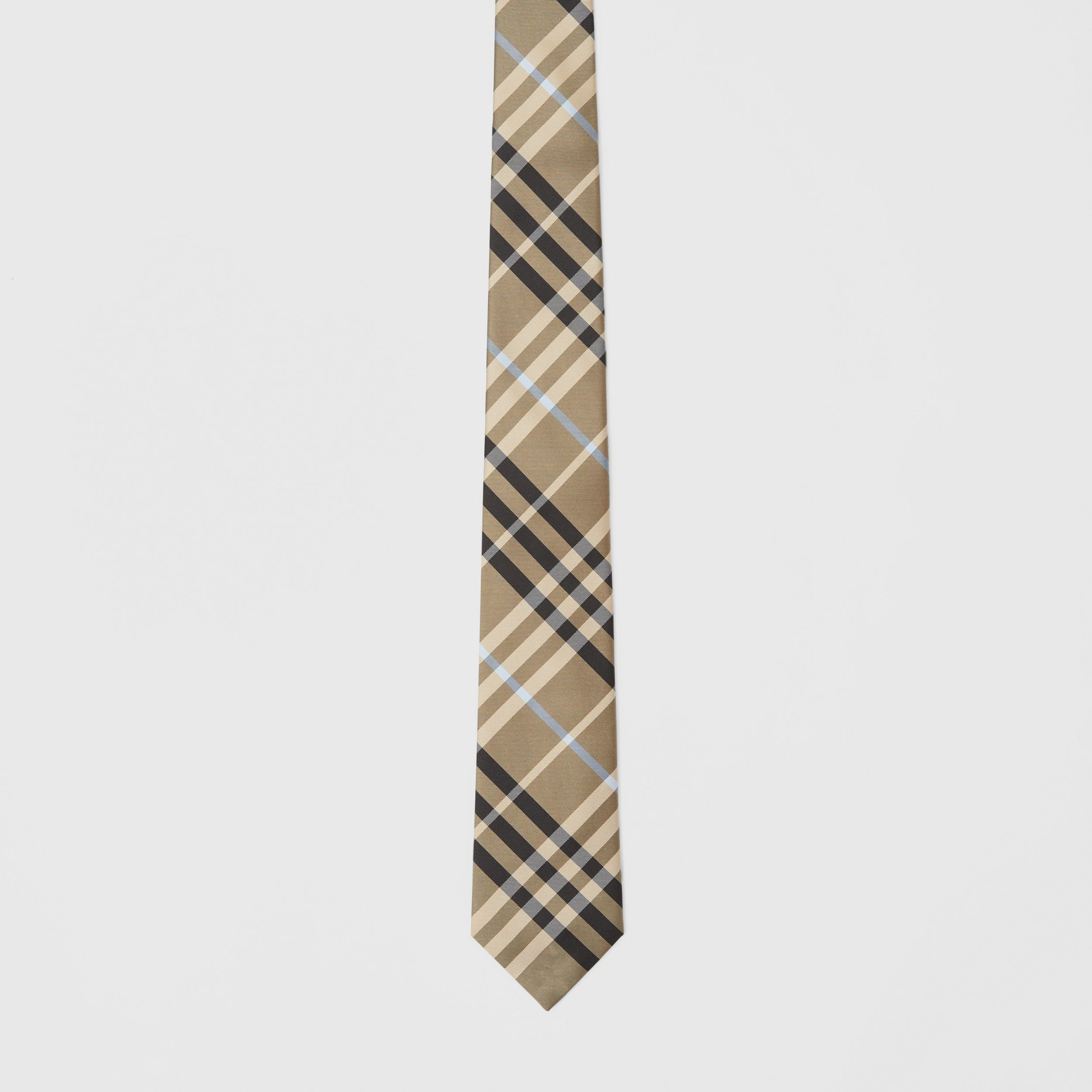 Classic Cut Check Silk Tie in Dusty Sand - Men | Burberry - 4