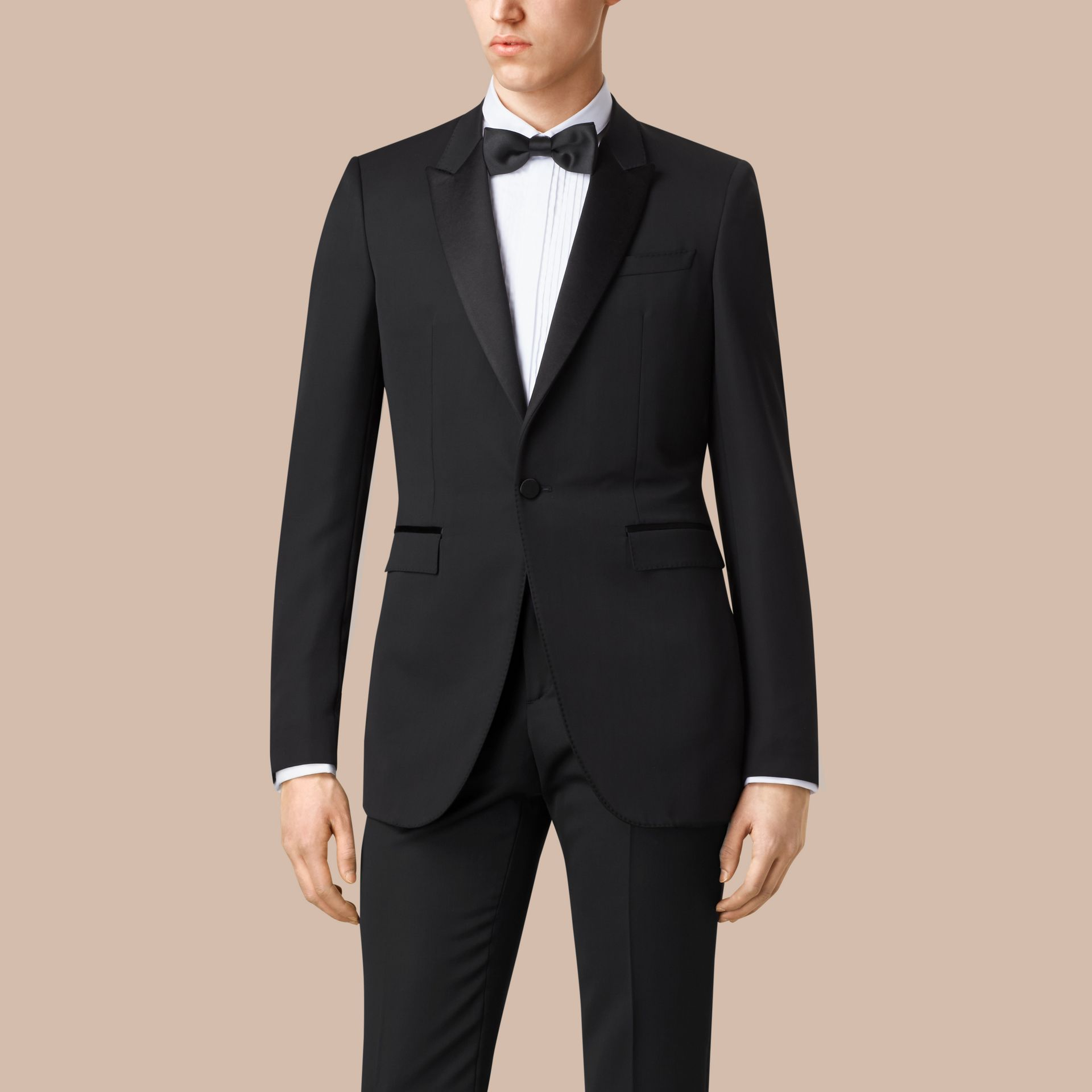 Satin Lapel Tuxedo Jacket Black - gallery image 3