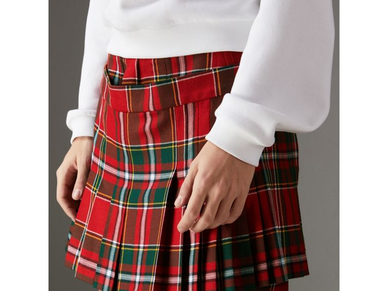 Modern Stewart Royal Tartan Punk Trousers in Bright Red | Burberry Australia - cell image 1