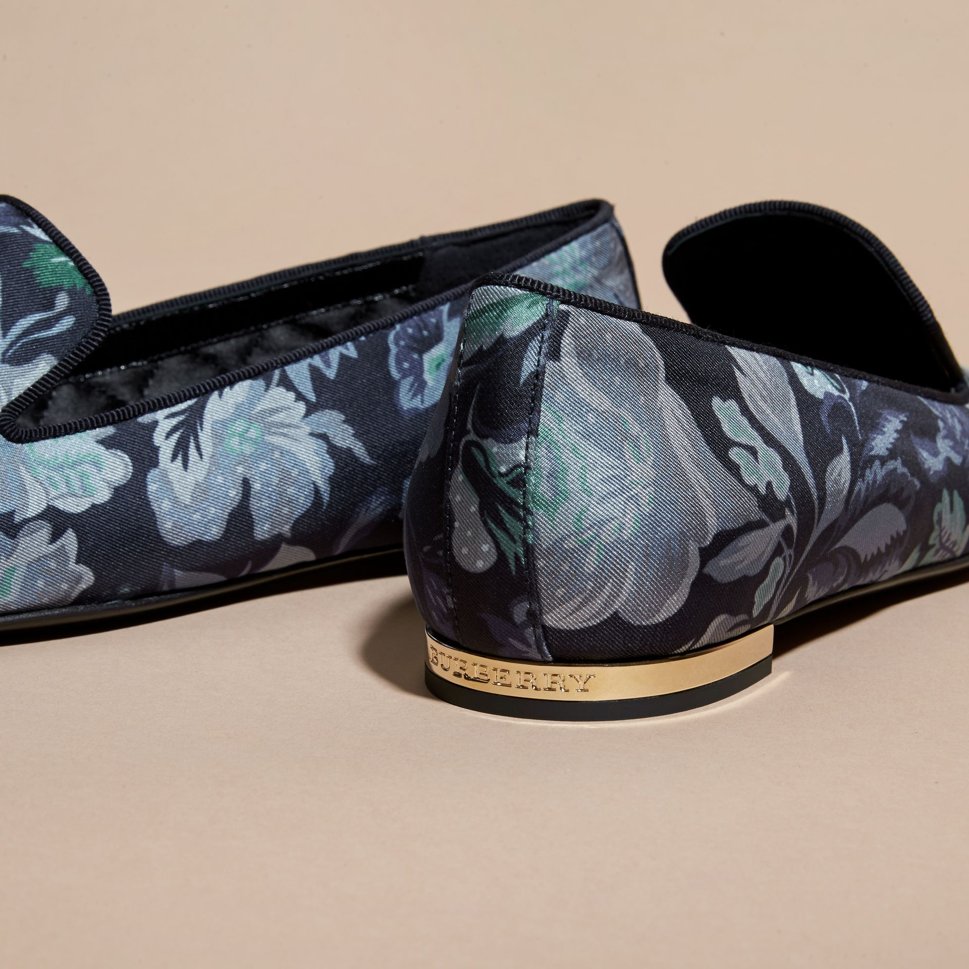 Navy Floral Print Silk Cotton Loafers - gallery image 2