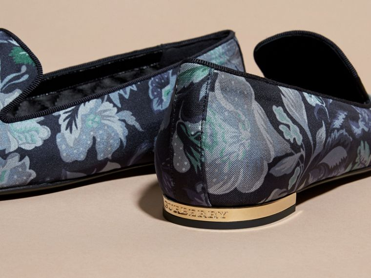 Navy Floral Print Silk Cotton Loafers - cell image 1