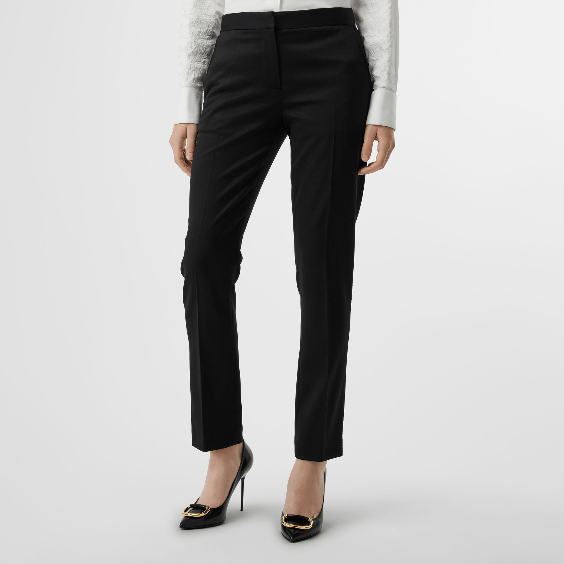 Straight Fit Wool Tailored Trousers in Black - Women | Burberry United Kingdom - gallery image 4