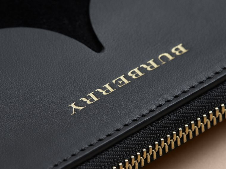 Two-tone Scalloped Leather and Suede Clutch Bag in Black - Women | Burberry - cell image 1