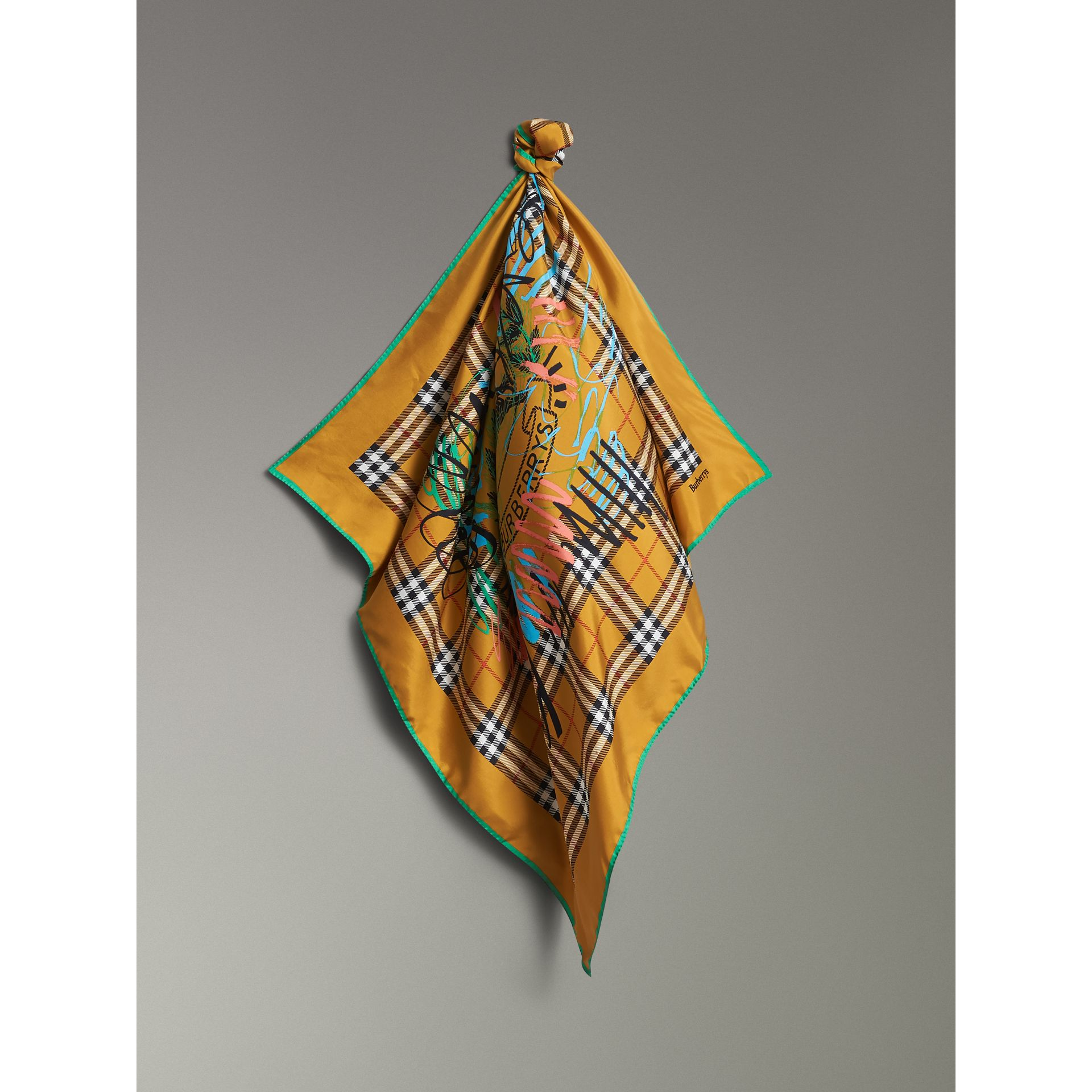 Scribble Archive Logo Silk Square Scarf in Amber Yellow | Burberry United Kingdom - gallery image 6