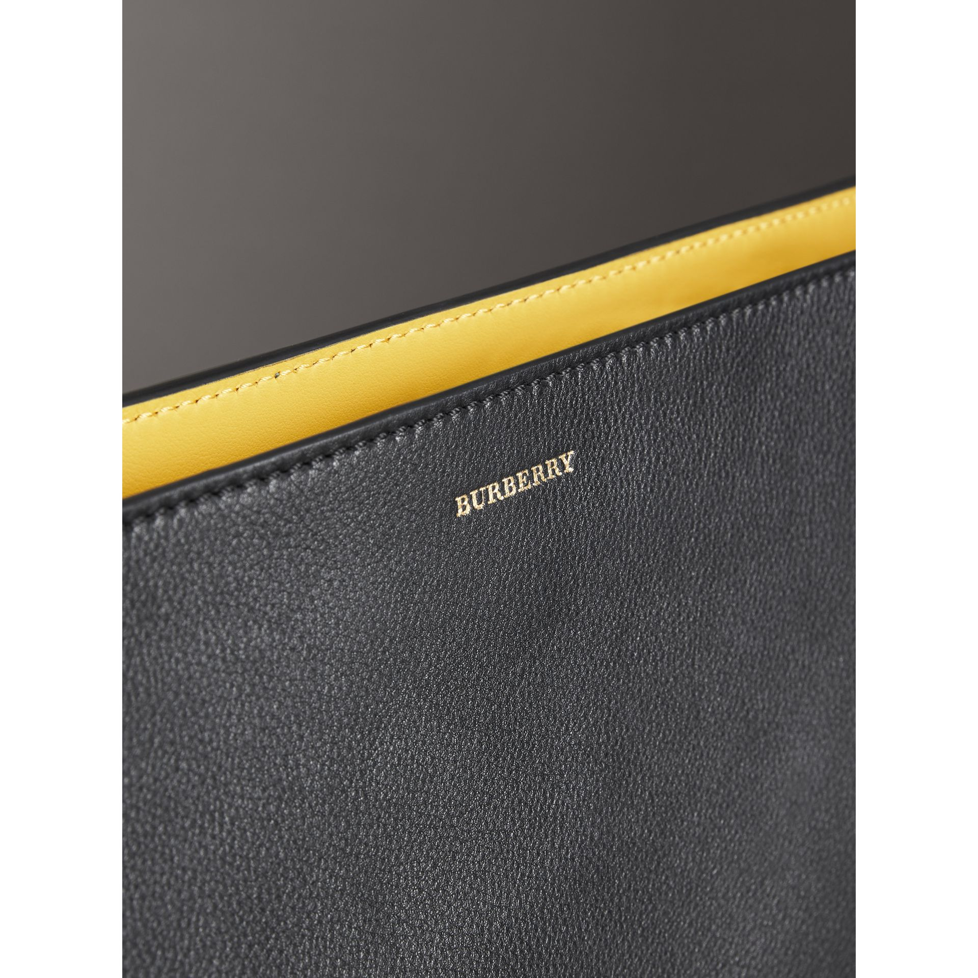Large Tri-tone Leather Clutch in Black/sea Green | Burberry - gallery image 1