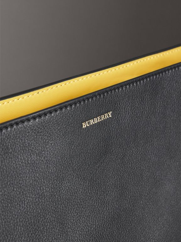 Large Tri-tone Leather Clutch in Black/sea Green | Burberry - cell image 1