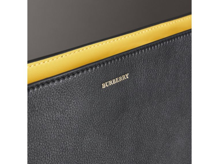 Large Tri-tone Leather Clutch in Black/sea Green - Women | Burberry Australia - cell image 1
