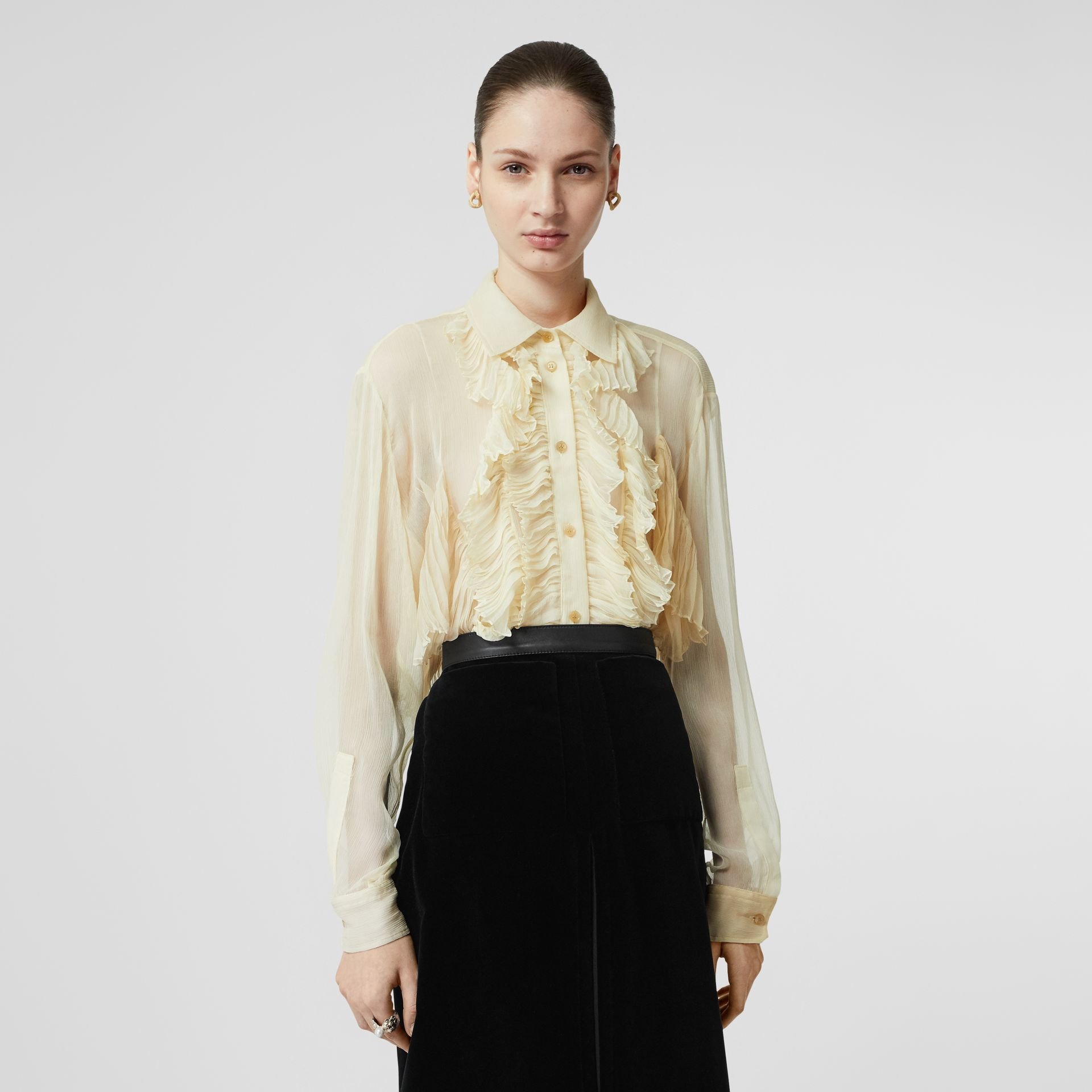 Ruffle Detail Crepe De Chine Oversized Blouse in Light Oatmeal - Women | Burberry - gallery image 0