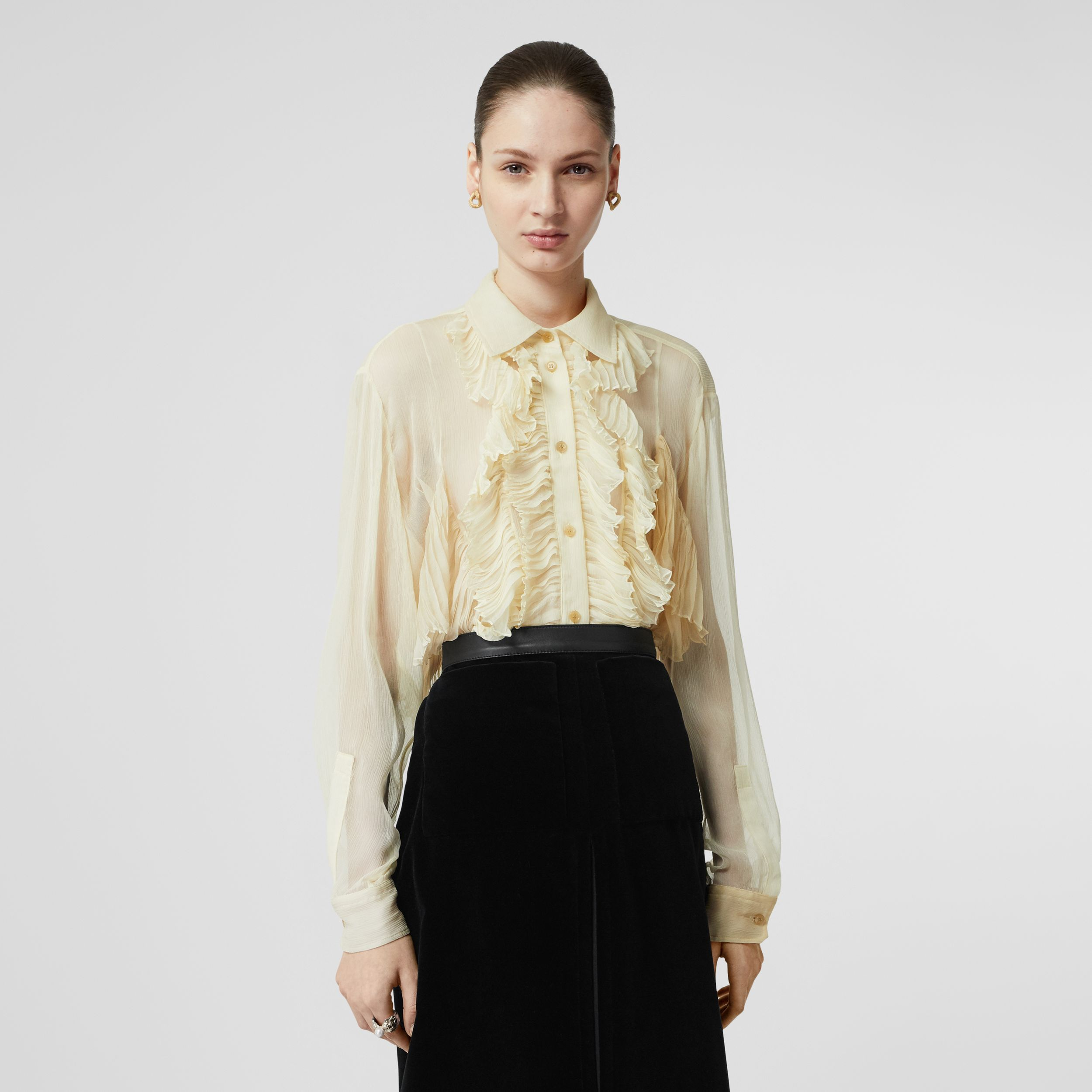 Ruffle Detail Crepe De Chine Oversized Blouse in Light Oatmeal - Women | Burberry - 1