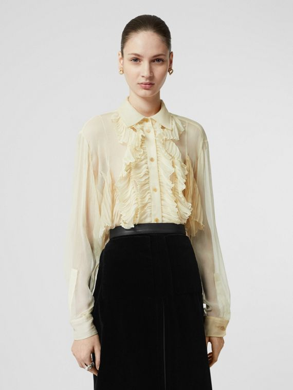 Ruffle Detail Crepe De Chine Oversized Blouse in Light Oatmeal