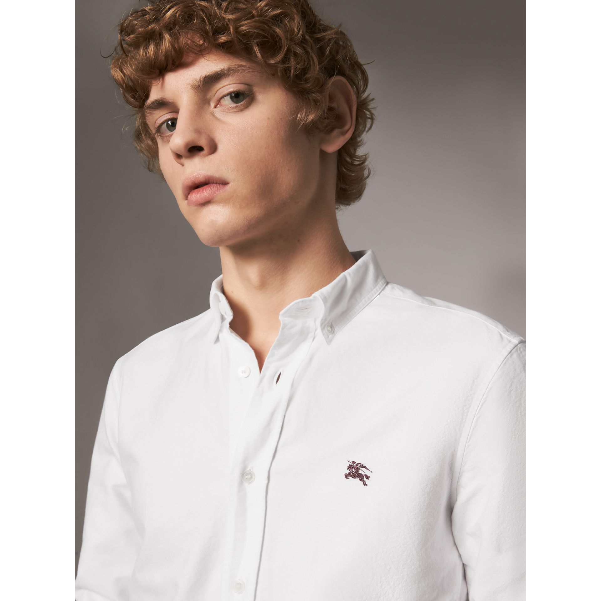 Cotton Oxford Shirt in White - Men | Burberry Canada - gallery image 1