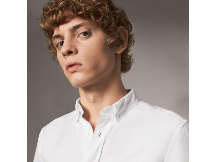 Cotton Oxford Shirt in White - Men | Burberry United Kingdom - cell image 1