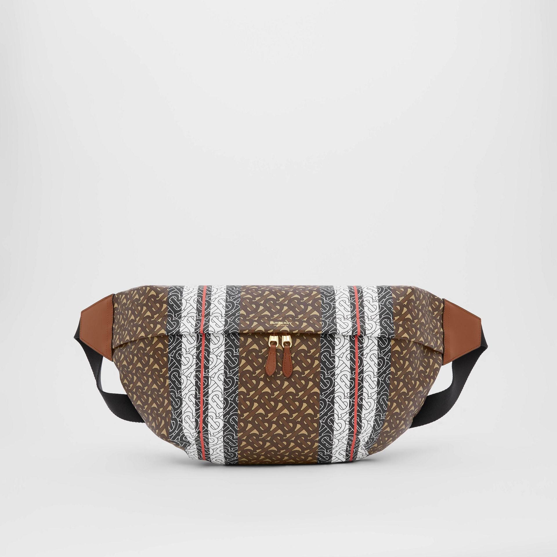 Extra Large Monogram Stripe E-canvas Bum Bag in Bridle Brown | Burberry United Kingdom - gallery image 0