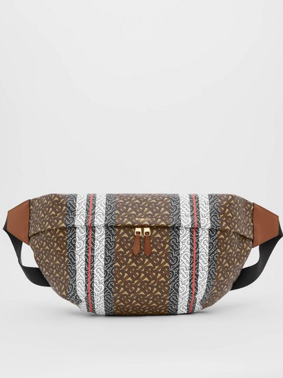 Extra Large Monogram Stripe E-canvas Bum Bag in Bridle Brown
