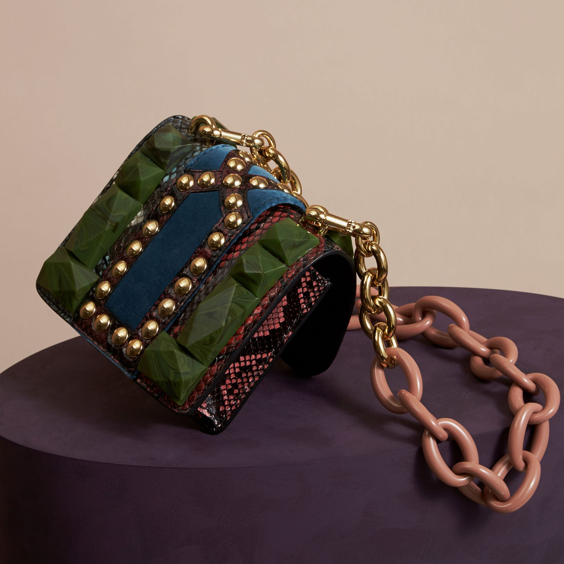 Turquoise green The Mini Square Buckle Bag in Ostrich, Snakeskin and Velvet - gallery image 4