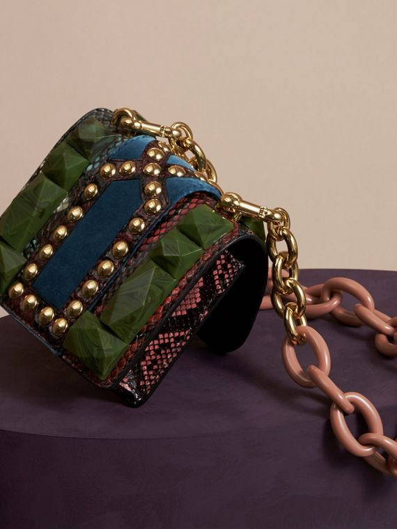Turquoise green The Mini Square Buckle Bag in Ostrich, Snakeskin and Velvet - cell image 3