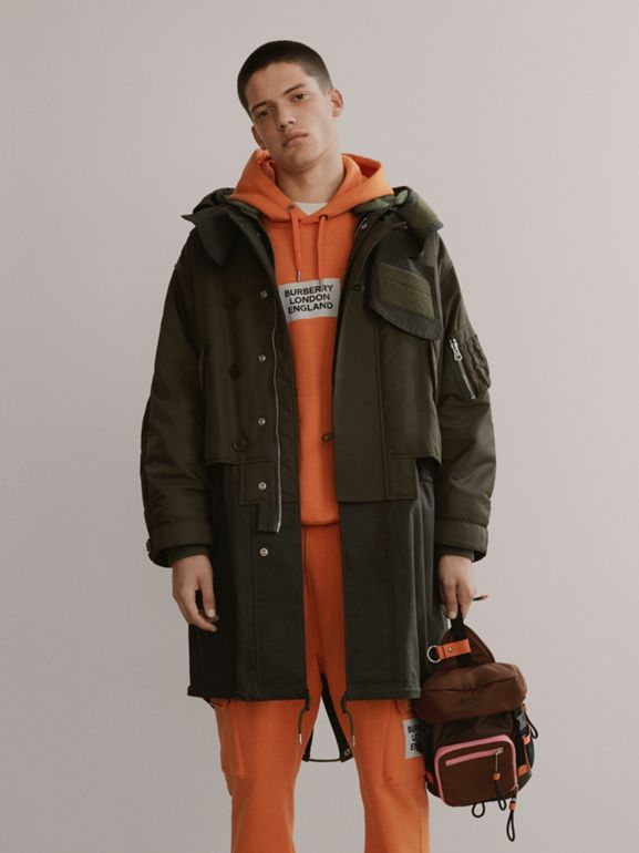 Nylon Hooded Parka with Detachable Warmer in Olive - Men | Burberry United States - cell image 1