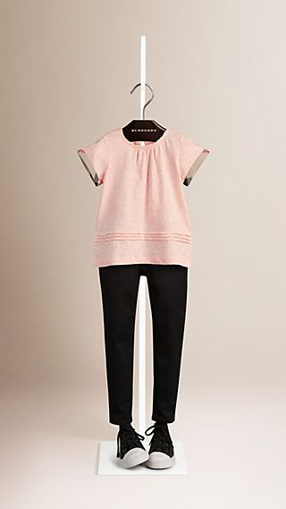 Check Detail Gathered Neckline Cotton Top