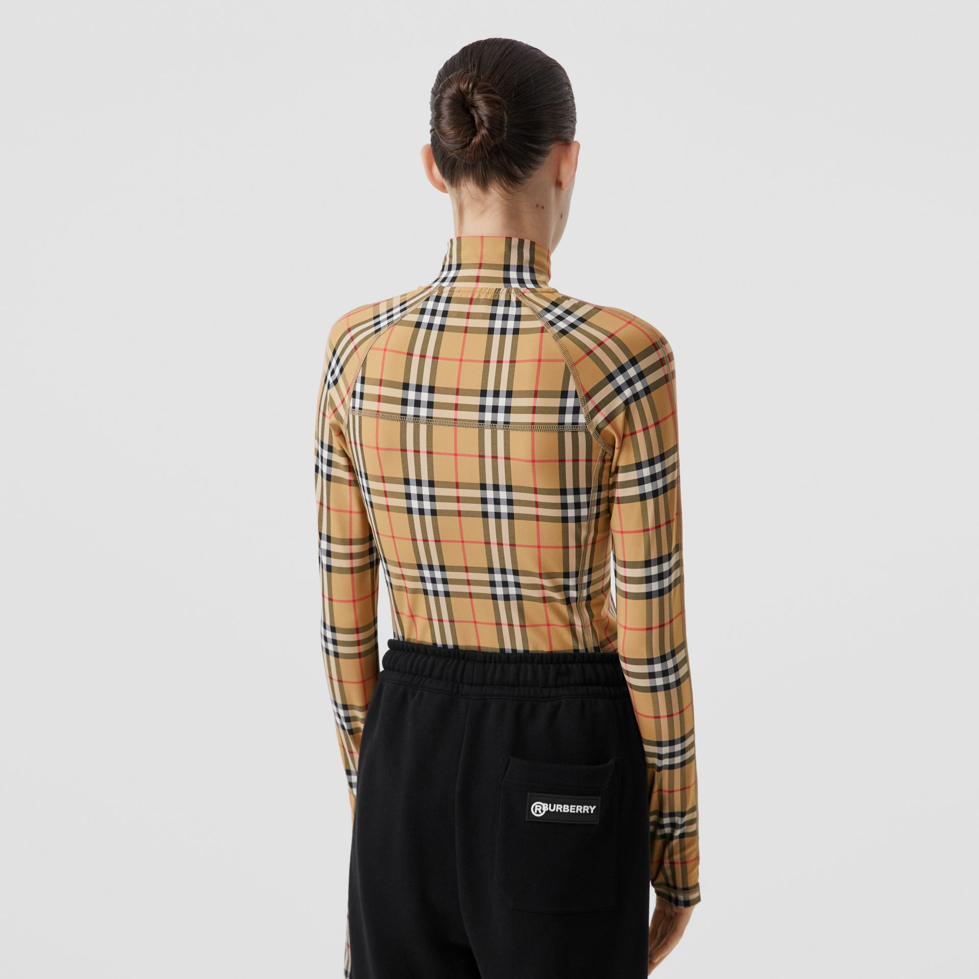 Vintage Check Stretch Jersey Turtleneck Top in Archive Beige - Women | Burberry - gallery image 2