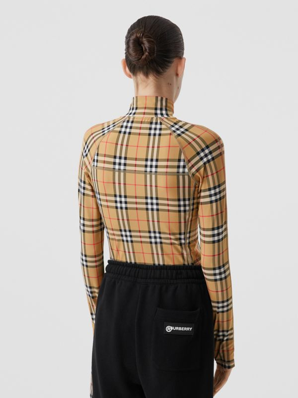 Vintage Check Stretch Jersey Turtleneck Top in Archive Beige - Women | Burberry - cell image 2