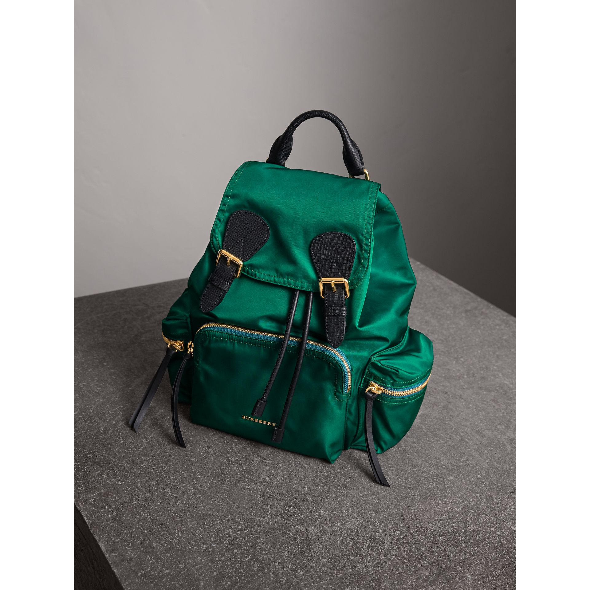 The Medium Rucksack in Technical Nylon and Leather in Pine Green - Women | Burberry - gallery image 6