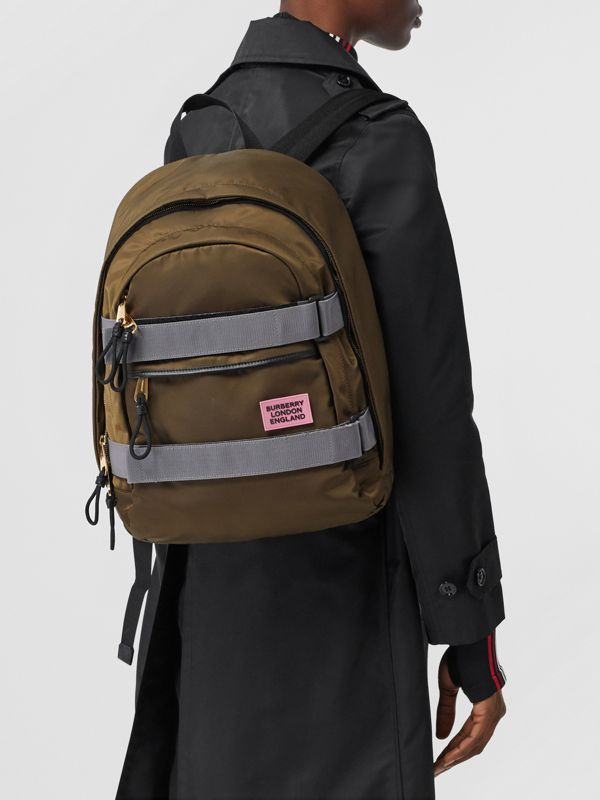 Medium Leather Trim ECONYL® Nevis Backpack in Khaki | Burberry United Kingdom - cell image 2