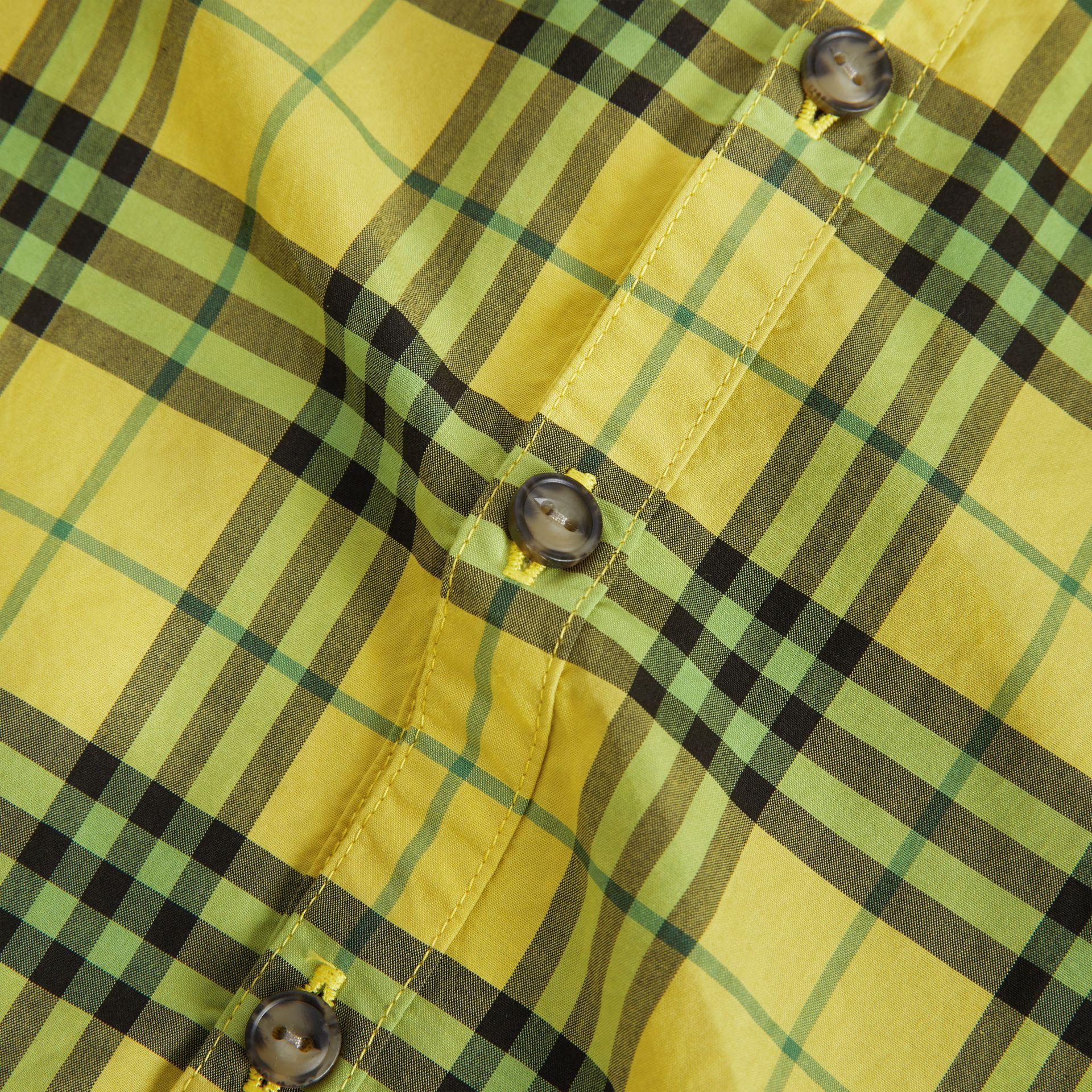 Short-sleeve Check Cotton Shirt in Citron | Burberry Singapore - gallery image 4
