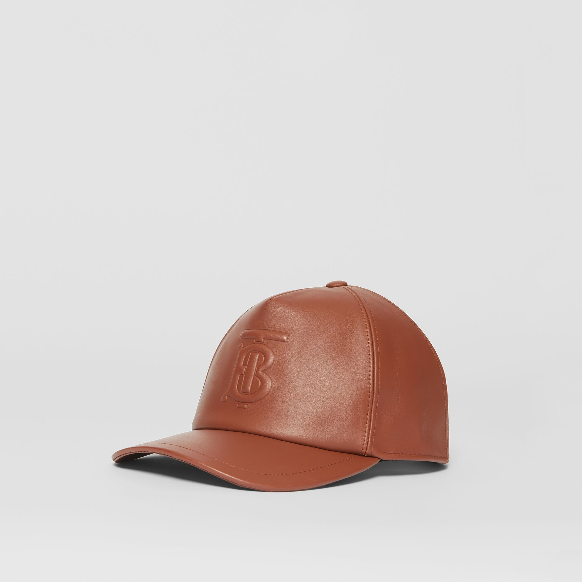 Monogram Motif Leather Baseball Cap in Tan | Burberry - gallery image 5