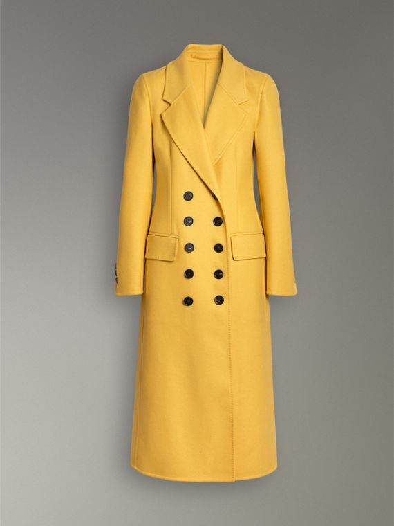Double-breasted Cashmere Tailored Coat in Ochre Yellow - Women | Burberry Australia - cell image 3