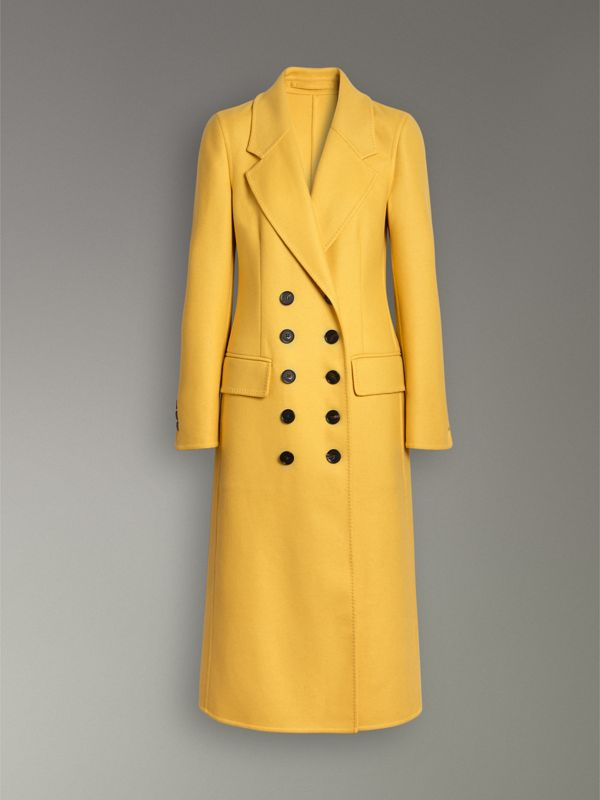 Double-breasted Cashmere Tailored Coat in Ochre Yellow - Women | Burberry Canada - cell image 3