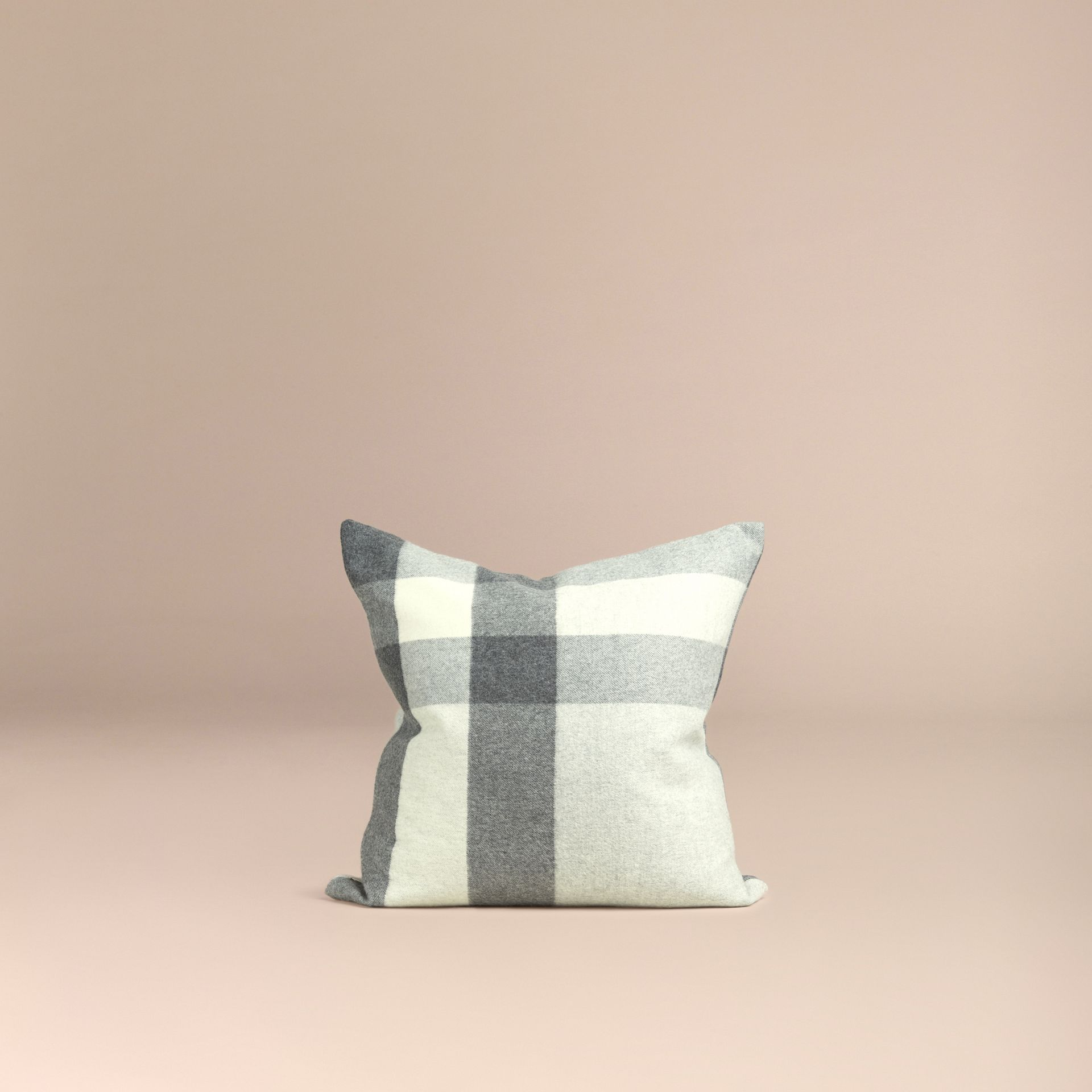 Pale grey Check Cashmere Cushion Cover Pale Grey - gallery image 3
