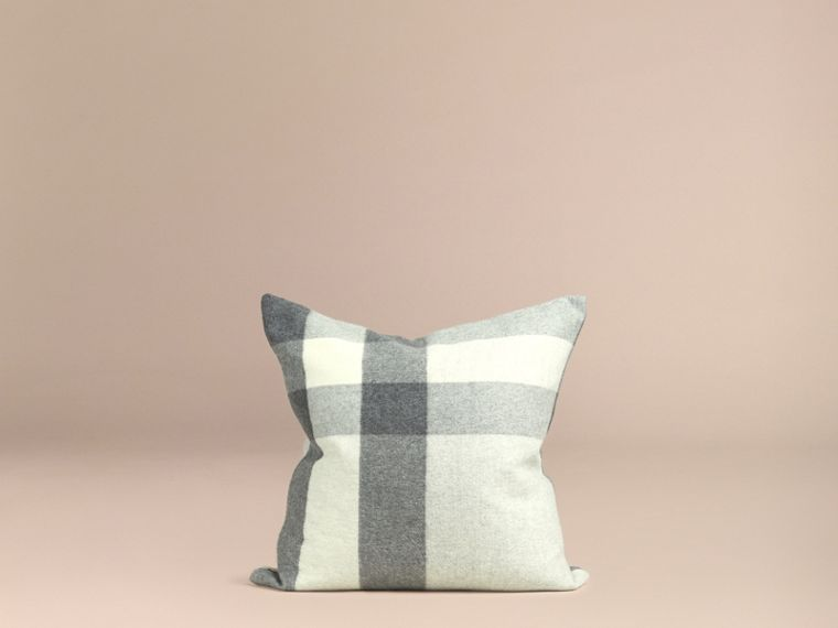 Pale grey Check Cashmere Cushion Cover Pale Grey - cell image 2