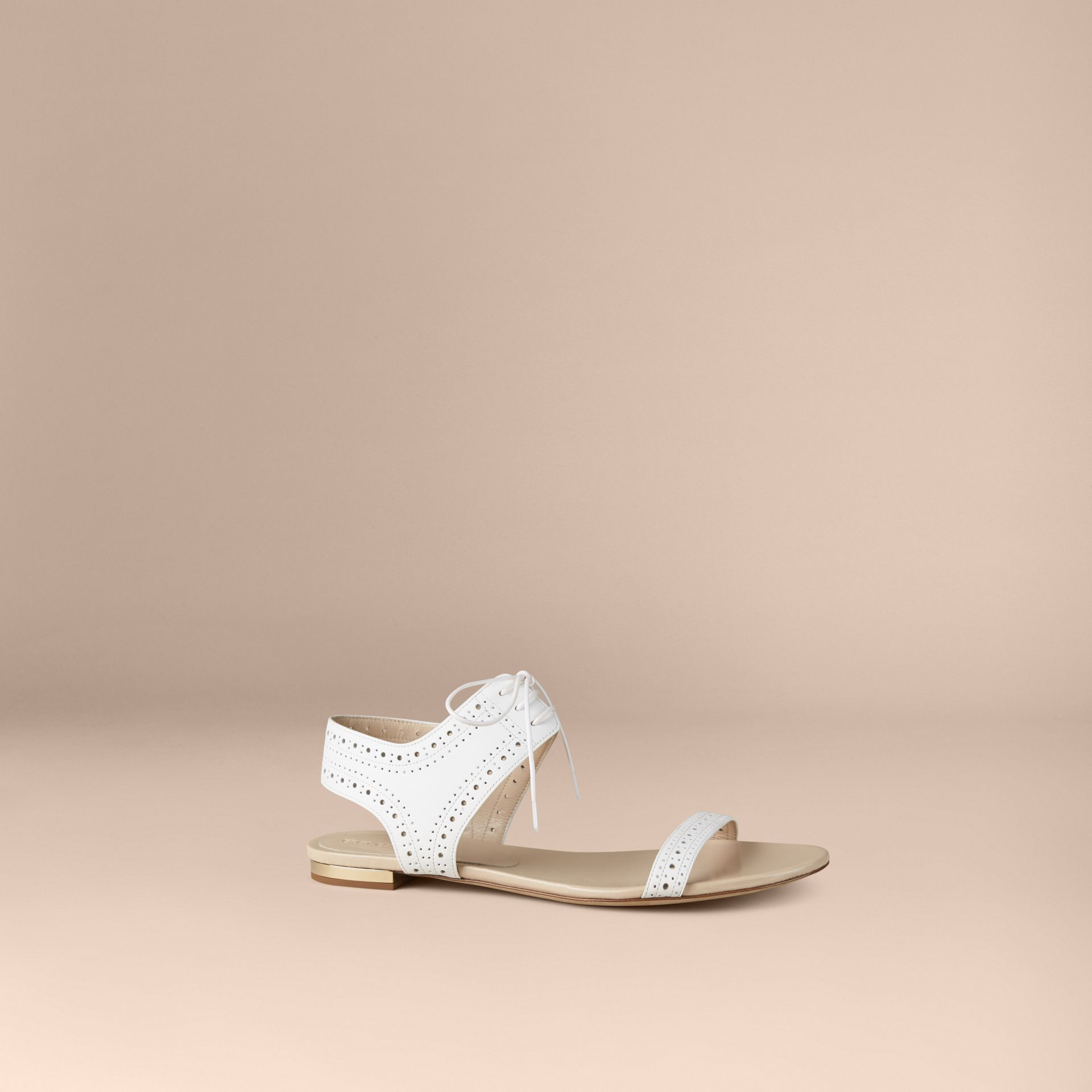 Optic white Perforated Detail Leather Sandals - gallery image 1